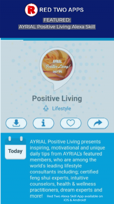 AYRIAL Positive Living Alexa Skill Featured on Red Two